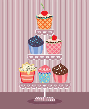 set of fruit and chocolate cupcakes on a stand  Vector