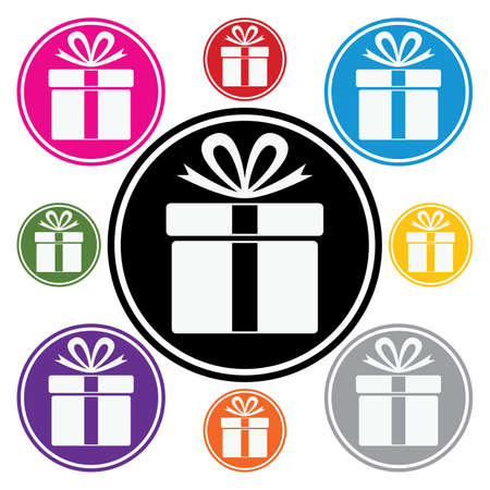 blue gift box: vector set of colorful gift box symbols