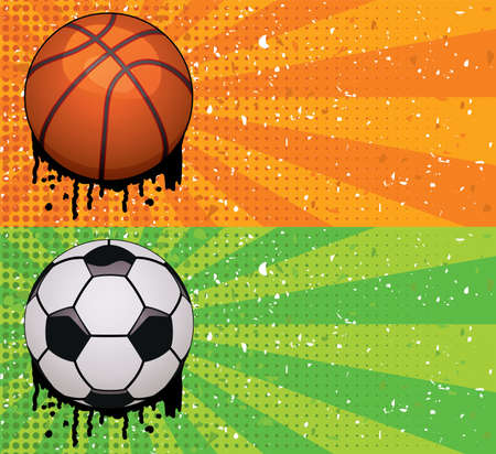 grunge illustrations of basketball and soccer backgrounds Vector