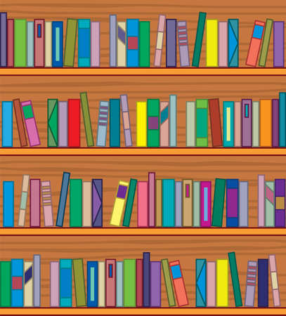 clipart of wooden bookshelf with books