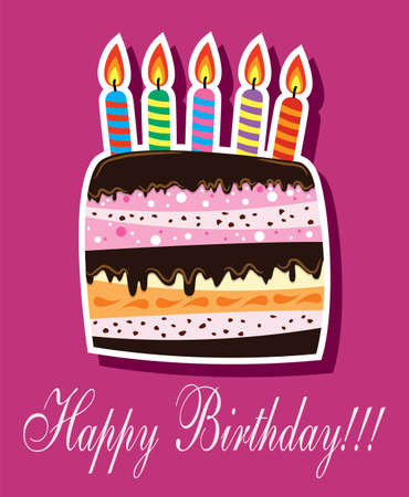 Birthday Cake With Burning Candles Royalty Free Cliparts Vectors