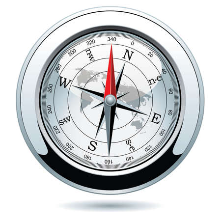 illustration of shiny silver compass