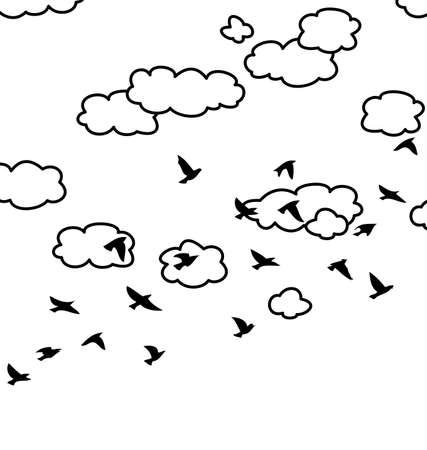 bandada de p�jaros: dibujo en blanco y negro de la bandada de p�jaros y las nubes volando en el cielo