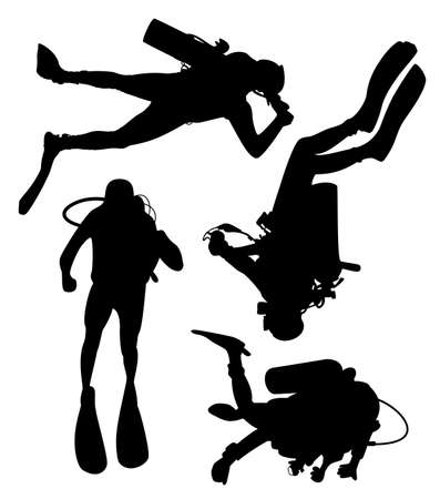set of scuba divers  Vector
