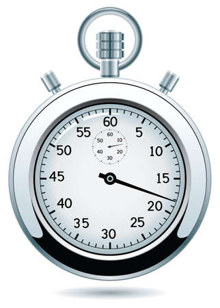 old watch: design of silver stopwatch Illustration