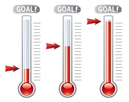 fundraiser: thermometers at different levels