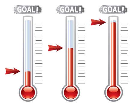 thermometers op verschillende niveaus