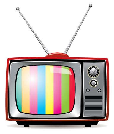 vintage grunge image: illustrazione del set tv retro Vettoriali