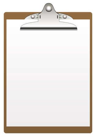 the clipboard: sujetapapeles y papel aisladas sobre fondo blanco Vectores
