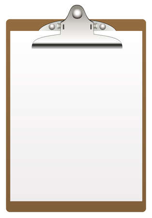 clipboard and paper isolated on white background Illustration