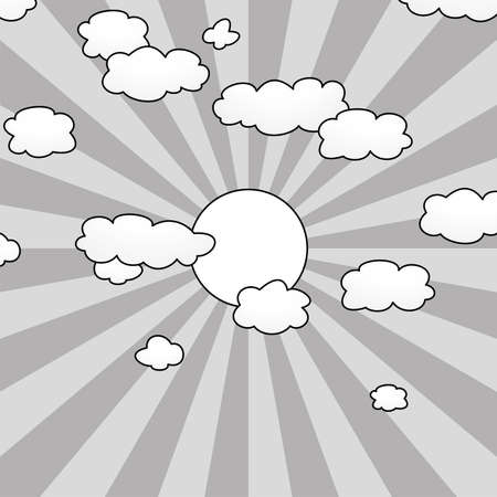 background with clouds and sun in the sky  Vector