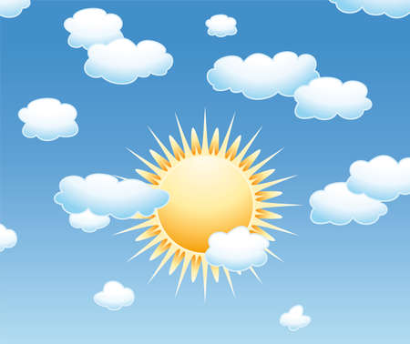 sun clipart: background with clouds and sun in the sky