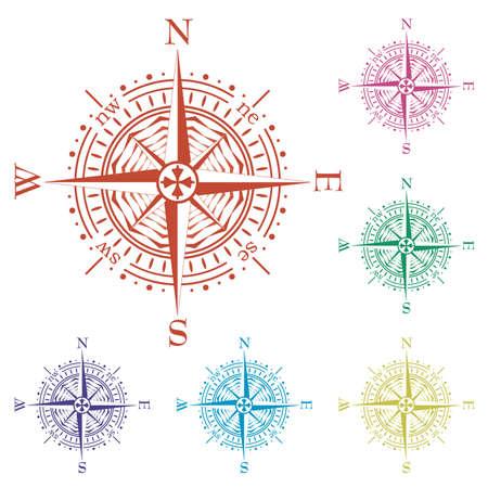 verde y morado: juego de compases de colores Vectores