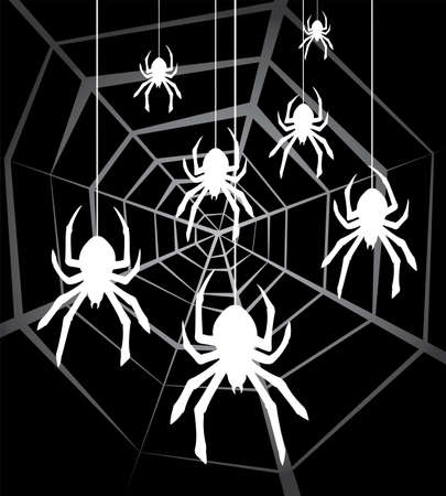 cobwebby:  illustration of hanging spiders and web Illustration