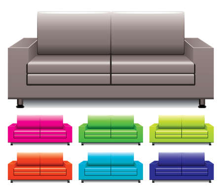 set of colorful sofas