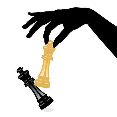 hanging woman: illustrazione di gioco di scacchi e sconfiggere il re