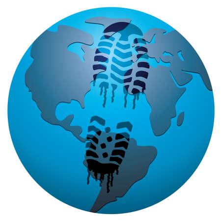 concept of global footprint Vector