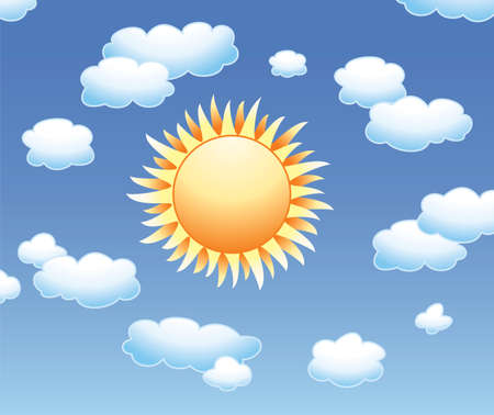 background with sun and clouds in the sky  Vector