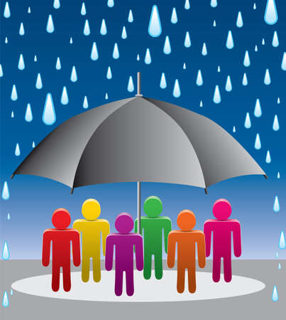 illustration of umbrella protection from rain drops  Stock Vector - 14893720