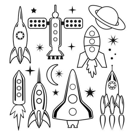 design set of stylized space symbols  Vector