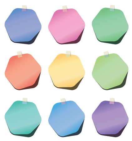 hexagon paper notes Stock Vector - 15135421