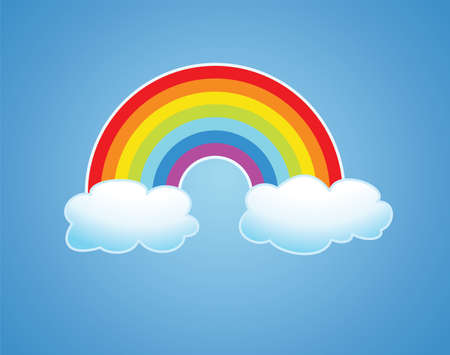 arc: symbol of rainbow and clouds in the sky Illustration
