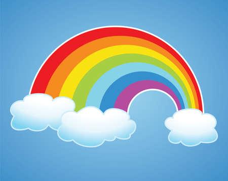 cartoon rainbow: vector, s�mbolo del arco iris y las nubes en el cielo