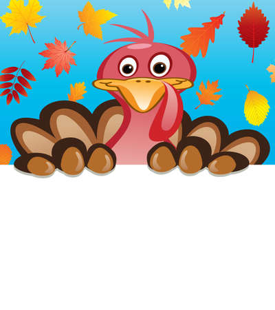 turkey feather: vector thanksgiving day design of turkey holding blank sheet of paper for your text Illustration