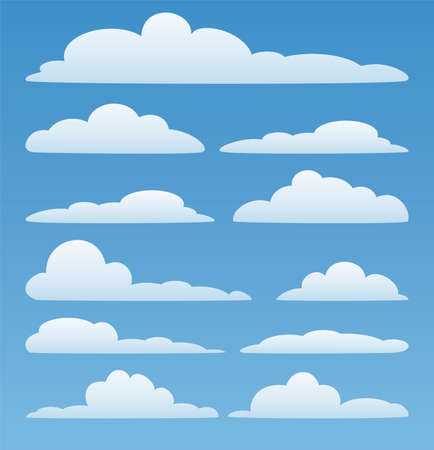 vector design set of clouds in the sky  Vector