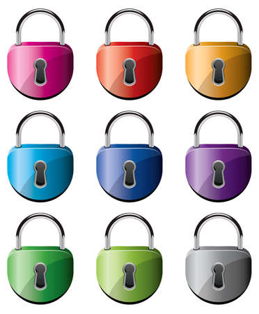 padlock icon: vector set of colorful metal padlocks