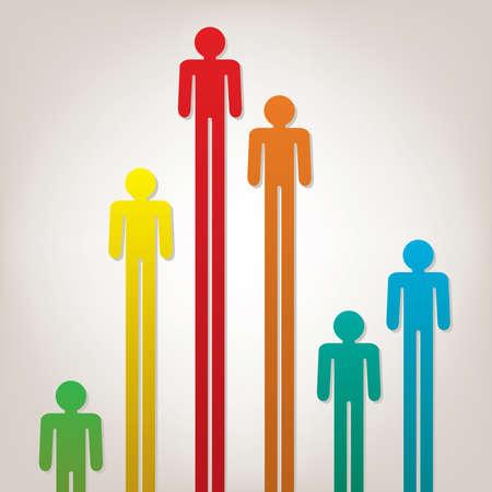 follow the leader: vector abstracte achtergrond met kleurrijke symbolen van mensen