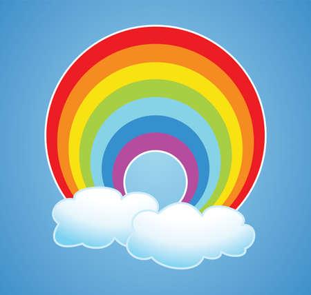 arcoiris caricatura: vector de dibujos animados de la naturaleza del arco iris y las nubes en el cielo después de la lluvia Vectores
