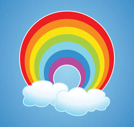 vector nature cartoon of rainbow and clouds in the sky after rain