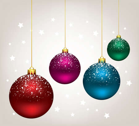 christmas stars: winter holiday illustration of christmas balls