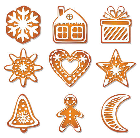 design of gingerbread cookies  Vector