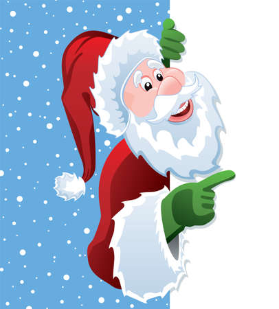 cartoon space:  christmas illustration of santa claus holding blank paper for your text  Illustration