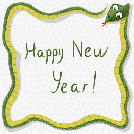 happy new year background with snake as a border Stock Vector - 16407754