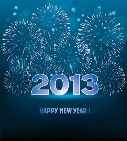 vector new year 2013 illustration with fireworks