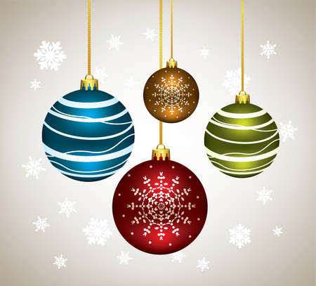 vector winter holiday illustration of christmas balls  Vector