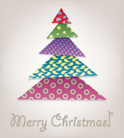 snippet: vector christmas tree design made of pieces of colorful paper or patchwork fabric