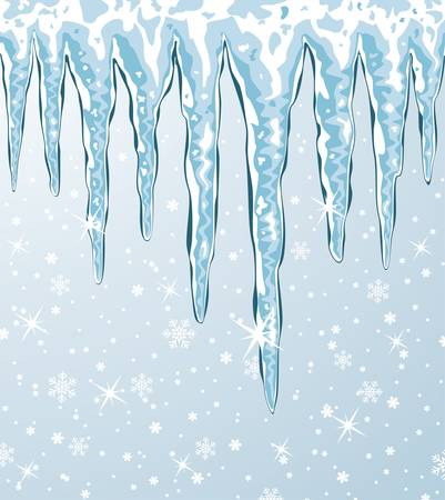 vector christmas background of icicles and falling snow Illustration