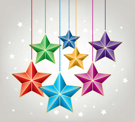 vector christmas holiday decoration with colorful stars Vector