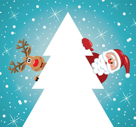 vector holiday illustration of santa claus and red nosed reindeer behind christmas tree