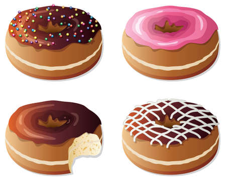 collection of glazed donuts Illustration