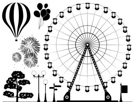 black and white elements of amusement park - ferris wheel, hot air balloons, fireworks, lamps, tree and road signs Illustration
