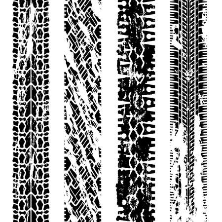 tyre tread: design of grungy tire prints Illustration