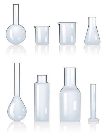 material de vidrio: juego de cristalería de laboratorio