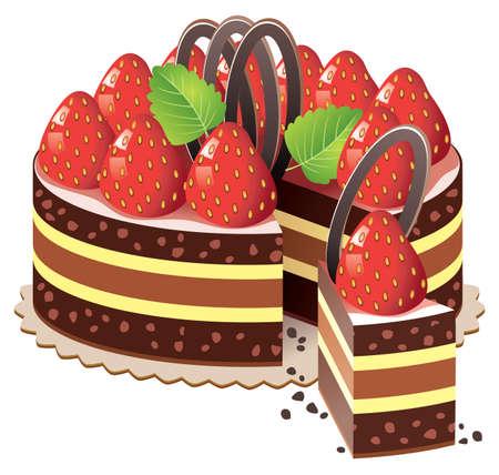 fruit cake: cake with strawberry and chocolate Illustration