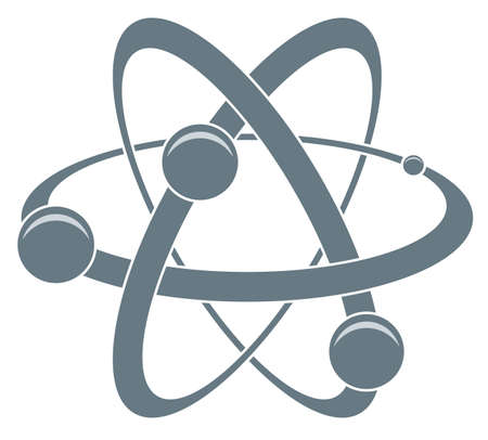 white atom: abstract science icon of atom Illustration