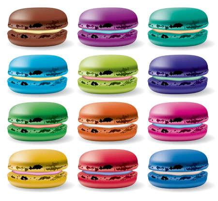 pasteleria francesa: conjunto de colores de macarons Vectores